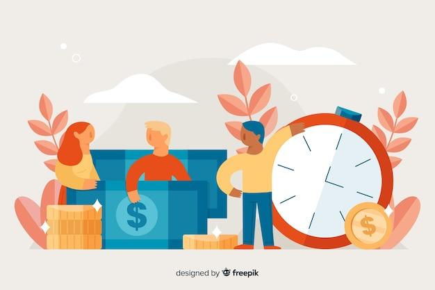 People saving money background Free Vector