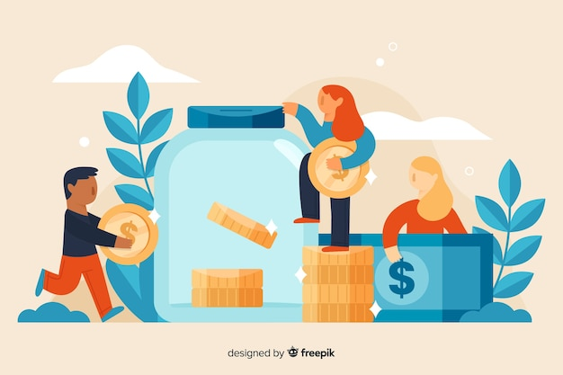 People saving money background Free Vector