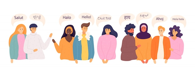 People say hi in different languages  . diverse cultures, international communication concept. native speakers, friendly men and women. Premium Vector