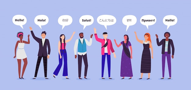 People say hi. hello on different languages, greetings world persons and communicating people   illustration Premium Vector