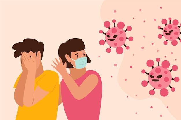 People scared of coronavirus disease Premium Vector