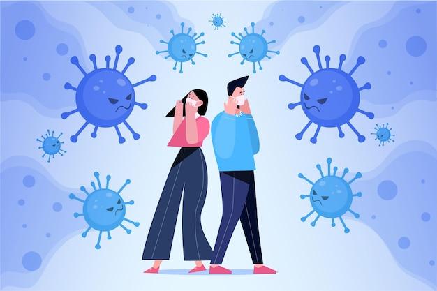 Persone spaventate dalla malattia da coronavirus Vettore gratuito