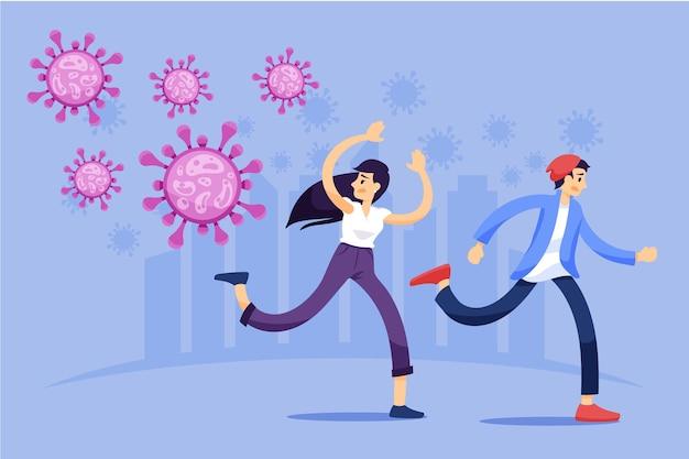 People scared of coronavirus Free Vector
