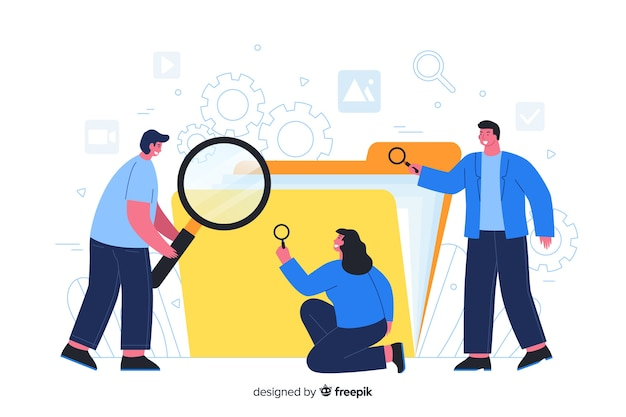 People searching in a folder for landing page Free Vector