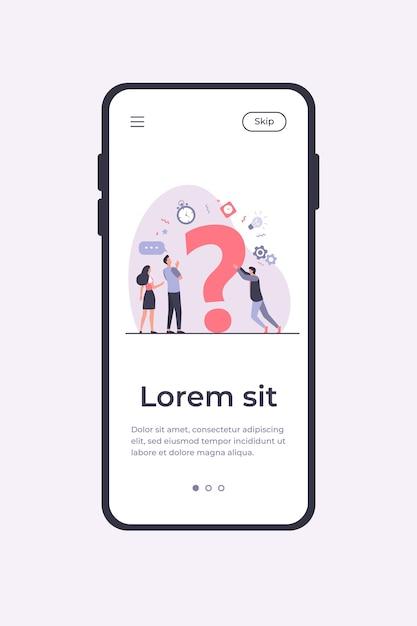 Люди ищут решения и просят о помощи. мужчины и женщины обсуждают огромный вопросительный знак. векторные иллюстрации шаблон мобильного приложения Бесплатные векторы