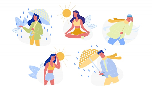 People and seasons, different weather set isolated Premium Vector