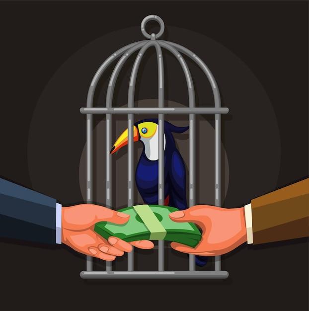 Люди продают экзотическую птицу тукан. торговля дикой природой незаконного бизнеса иллюстрации концепции в векторе мультфильма Premium векторы