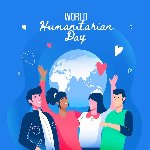 People sending live world humanitarian day Free Vector