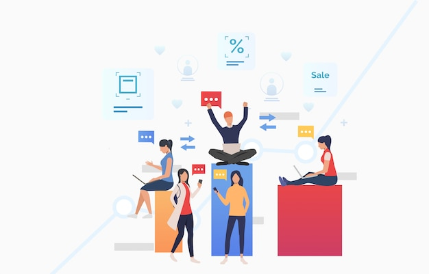 People sending messages using gadgets and celebrating success Free Vector