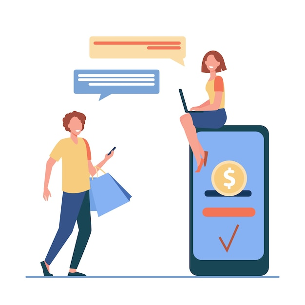 People sending and receiving money online. man and woman using gadgets for transactions flat vector illustration. payment system, mobile banking Free Vector
