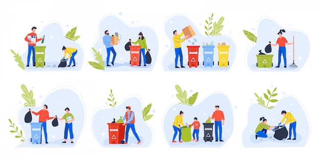 People separating garbage. environment day recycle garbage, family with children sort and separate trash to reduce environmental pollution  illustration set. eco activists with rubbish bins Premium Vector