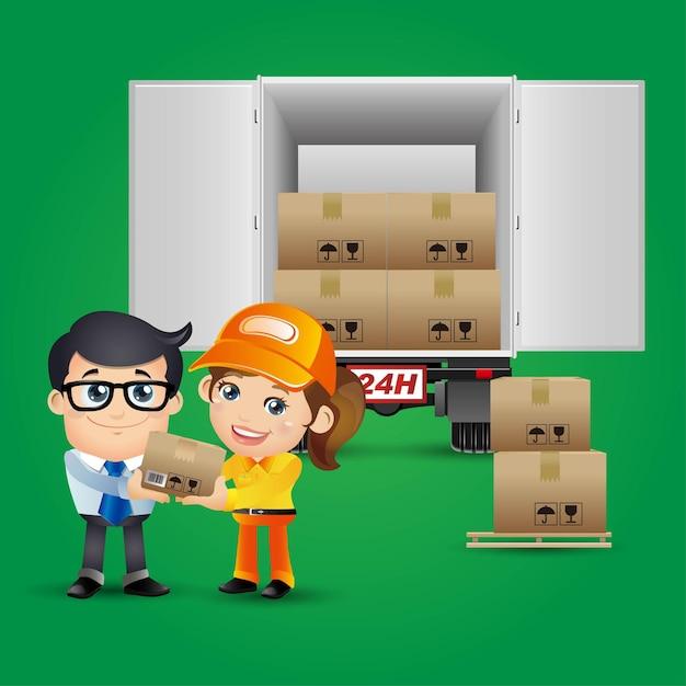 People set - profession - delivery person set Premium Vector