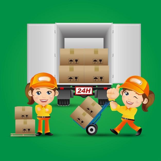 People set - profession - delivery person Premium Vector