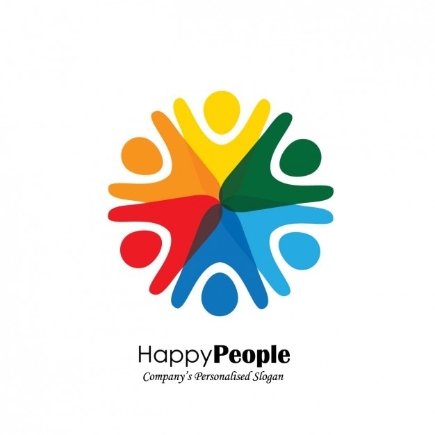 people shape logo design vector free download