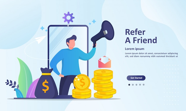 People share info about referral and earn money landing page template Premium Vector