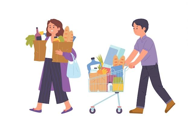 Люди покупают товары первой необходимости в продуктовом магазине Premium векторы