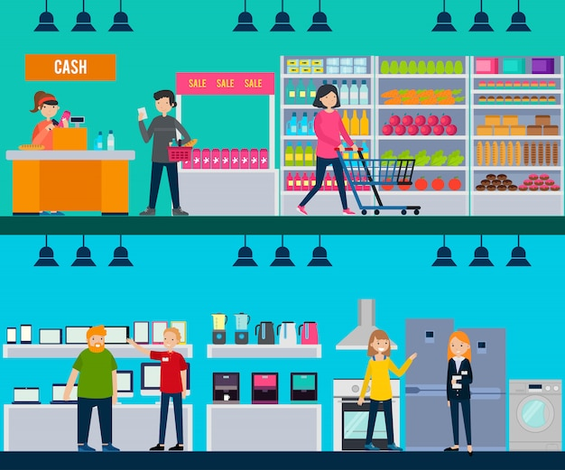 People in shop horizontal banners Free Vector