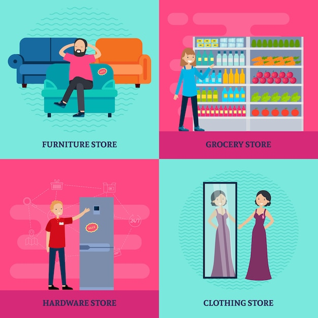 People in shop square concept Free Vector