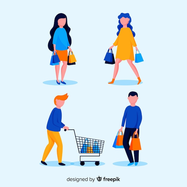 People shopping collection Free Vector