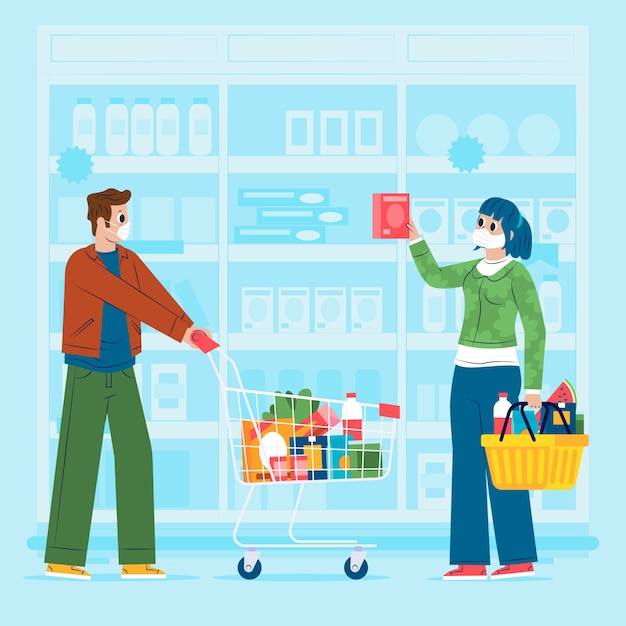 Люди покупают продукты в супермаркете Бесплатные векторы