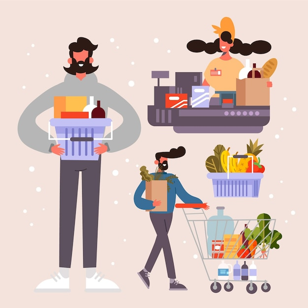 People shopping groceries concept Free Vector