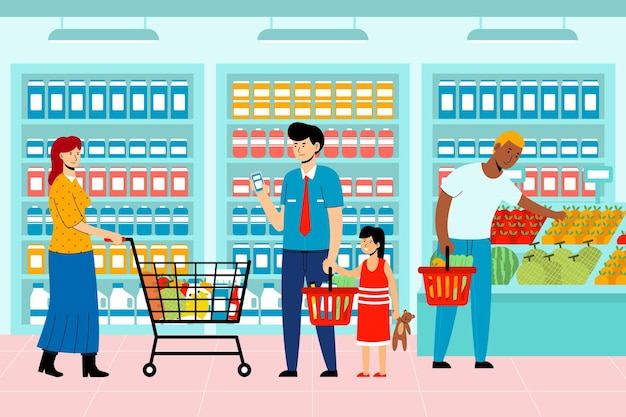People shopping groceries theme Free Vector