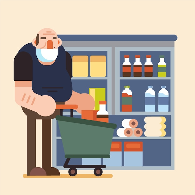 People shopping groceries Free Vector