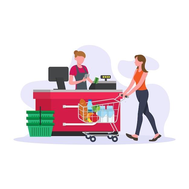 People shopping groceries Premium Vector