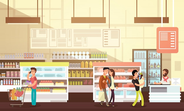 People shopping in grocery store. supermarket retail interior with customers flat vector illustration Premium Vector