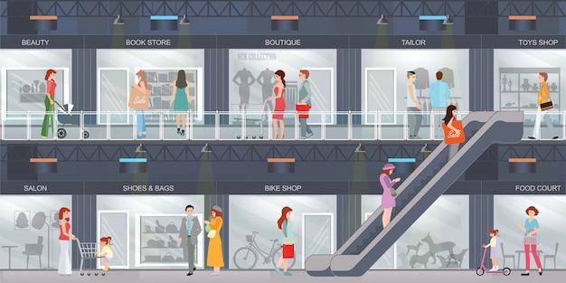 Люди делают покупки в торговом центре. Premium векторы