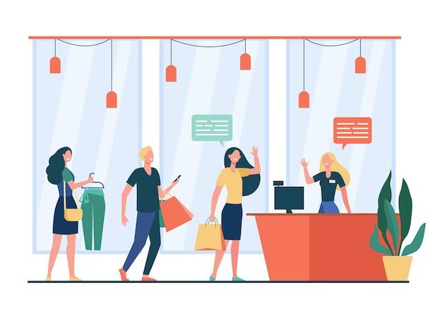 店で買い物をし、並んで待っている、またはフラットなベクトル図をキューに入れる人々。漫画の売り手が立って顧客に挨拶します。セール、割引、特別オファーのコンセプト 無料ベクター
