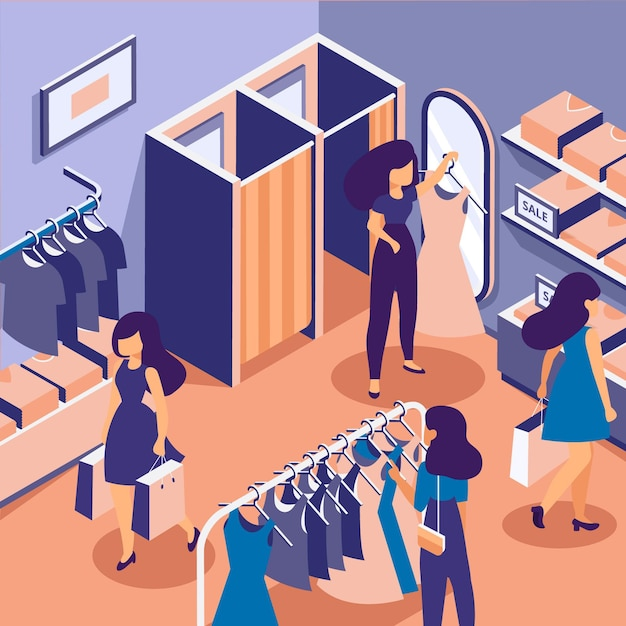 People shopping in an isometric clothing store Free Vector