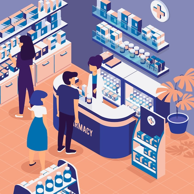 People shopping in an isometric pharmacy Free Vector