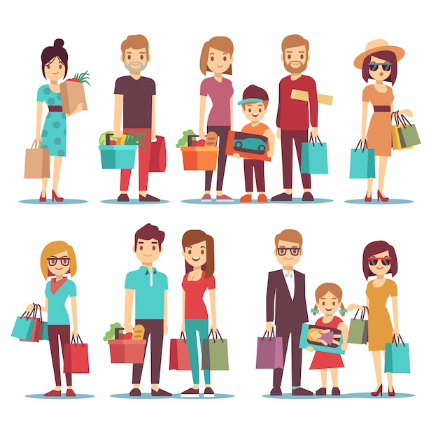 People shopping in mall vector cartoon characters set Premium Vector
