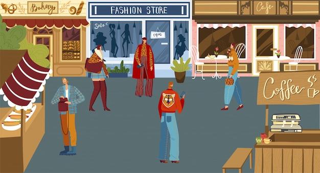 Люди, делающие покупки на городской площади, небольшая местная булочная, магазин модной одежды, кафе и уличная еда, иллюстрация Premium векторы