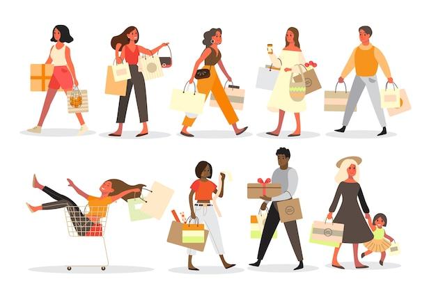 人々のショッピングセット。バッグとボックスを持つ人のコレクション。大きなセールと割引。食料品店またはファッション店。ショッピングバッグをお持ちのお客様。陽気なバイヤー。 Premiumベクター