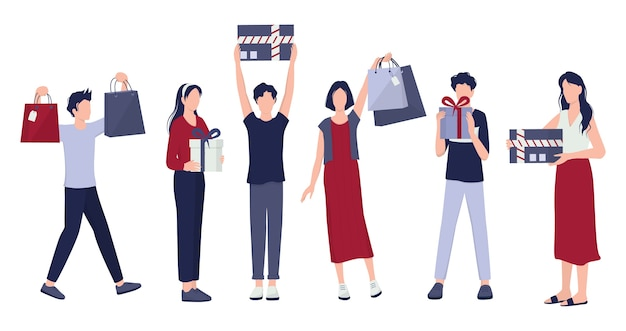 People shopping set. collection of person with bag and box. big sale and discount. grocery or fashion store. customer with shopping bags. cheerful buyer. Premium Vector
