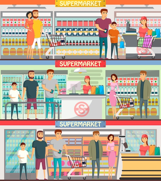 People shopping at supermarket banners Premium Vector