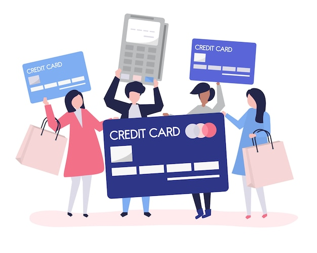 People shopping with a credit card Free Vector