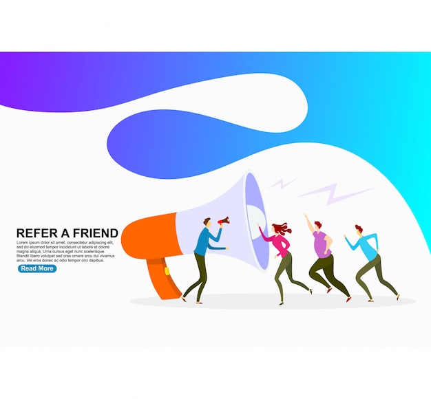 People shout on megaphone with refer a friend. template Premium Vector