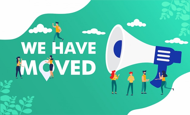 People shout on megaphone with we have moved word Premium Vector