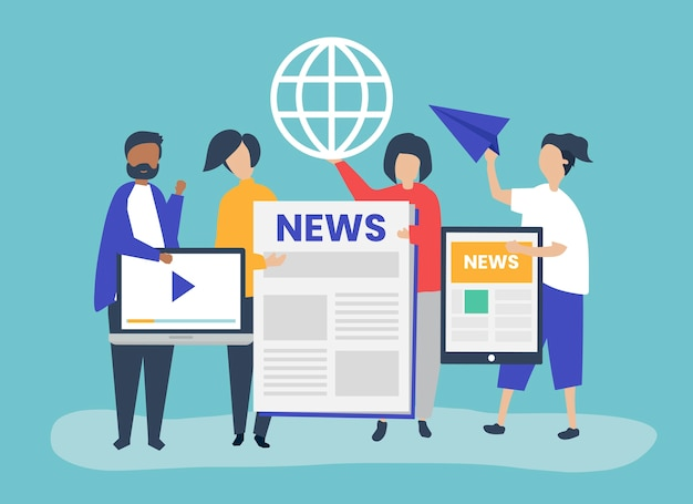 People showcasing different types of ways to access news Free Vector