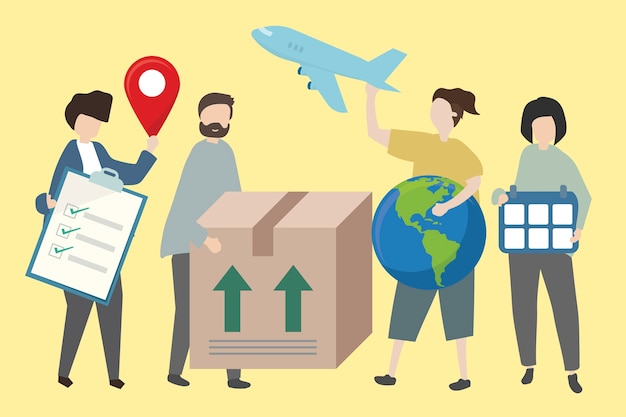 People showing methods of worldwide shipping Free Vector