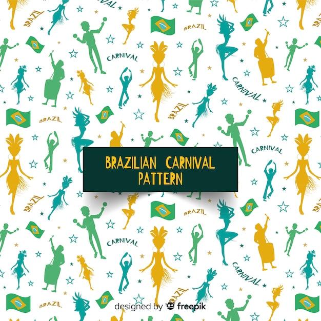 People silhouettes brazilian carnival pattern Free Vector