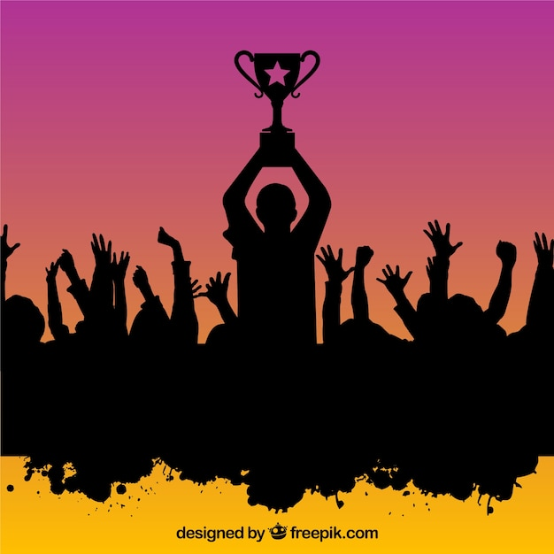 People silhouettes celebrating a world championship Free Vector