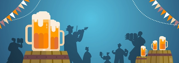 People silhouettes celebrating beer festival holding mugs playing musical instruments Premium Vector