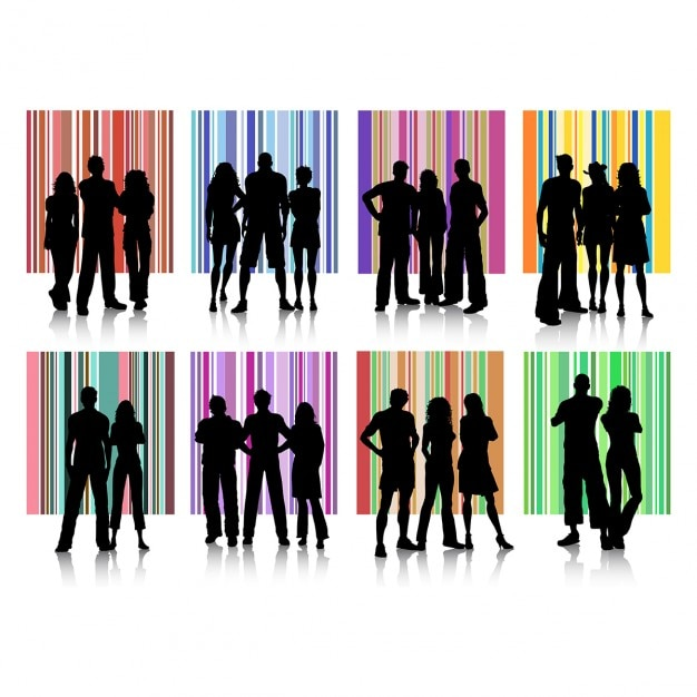 People silhouettes collection Free Vector