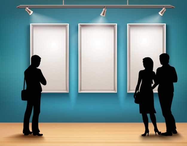 People silhouettes in gallery Free Vector