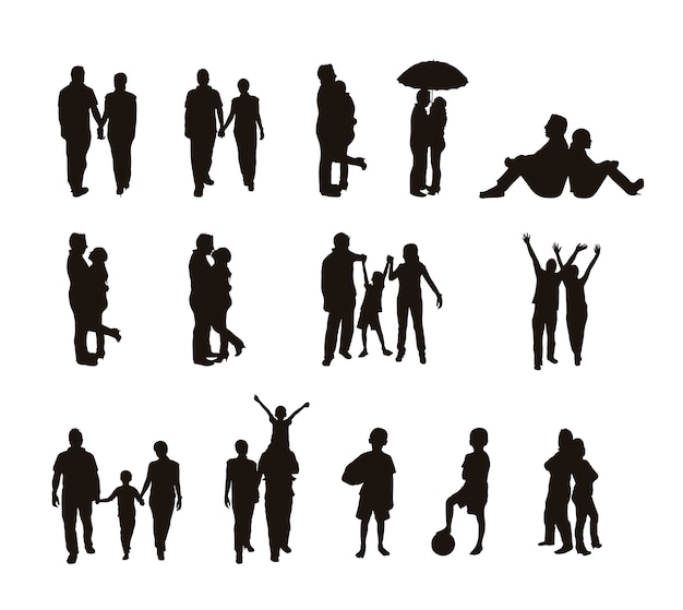 People silhouettes isolated over white background vector illustration Premium Vector