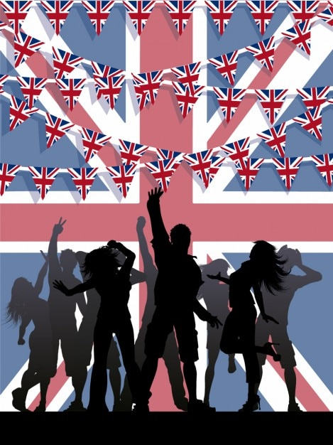 People silhouettes with british buntings